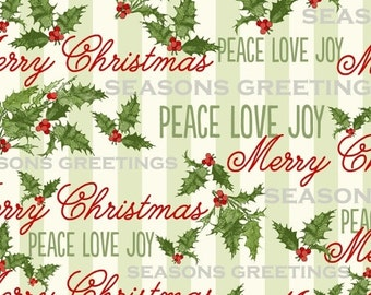 Christmas Fabric, Christmas Word Fabric - Seasons Greeting by Whistler Studio for Windham Fabrics - 40289 - Priced by the Half Yard