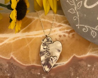 Silver Heart with Love Charm Pendant  - Ladies