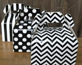 Black Chevron, Stripe and Polka Dot Wedding Gable Boxes- Treat or Favor Box - Wedding or Party Supply - 36 Ct.