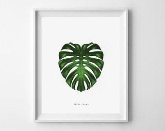 Art mural imprimable. Série de pouce vert: MONSTERA 11 x 14. botanique, vert, décor de la chambre, moderne, naturel