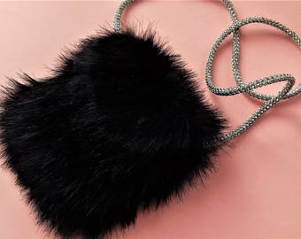 Faux Fur Purse in Dark Blue / Birthday's Gift Idea / Wedding accsesories / Chic bag / Easter