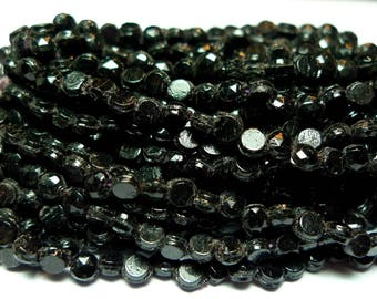 Nailhead glass beads faceted shiny black 3 mm 1 tiny hank