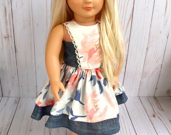 Floral and chambray 18 inch doll dress with lace and Velcro back, fits American Girl doll, 18 inch doll clothes