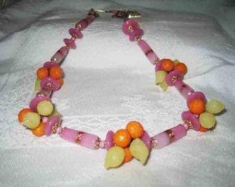 Vintage Venetian Glass Fruit Beaded Necklace