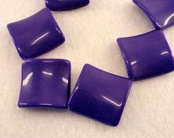 30mm PURPLE Flat Wavy Diamond Rhombus Plastic Beads Acrylic 25 Pcs
