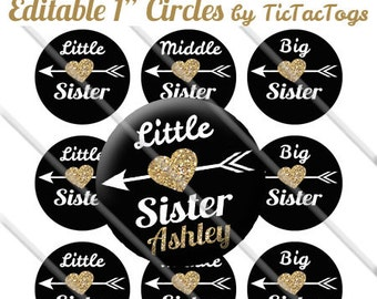 Editable Little Middle Big Sister Gold Heart Arrow Bottle Cap Images 1 Inch Circles Digital JPG - Instant Download - BC543