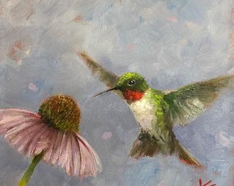 Fluttering, original, painting, krista eaton, bird, oil, on gesso board, hummingbird