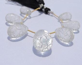 7 Pcs Set AAA Genuine Rock Crystal Quartz Mughal Carved Drops Briolette Size 15*8 - 26*15 MM