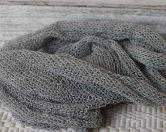 knitted wrap, gray knit wrap, new born gray wrap