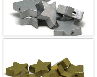 2 wooden star beads / gold 19mm