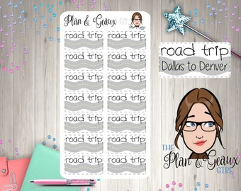 Road Trip Planner Stickers, Summer Vacation Stickers, Blue Car Trip Sticker, Stickers,  Happy Planner Stickers, Bullet Journal, FUN-652