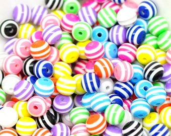 Beautiful high quality 8mm resin round STRIPED beads - you get 100
