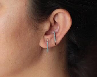 Turquoise Earrings Set / Bull Skull Post / Suspender Earrings / J earrings