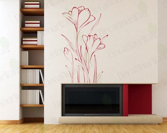 Floral Wall Decals Flower Wall Art Home Decor Removable Vinyl Stickers size 2