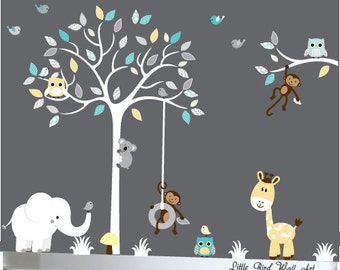 Baby Wall Decal Safari Nursery Jungle Decals Owls Tree