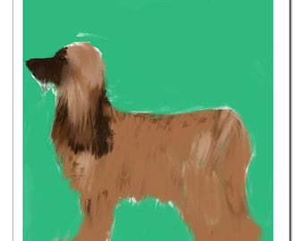 Afghan Hound Dog Illustration-Pop Art Print
