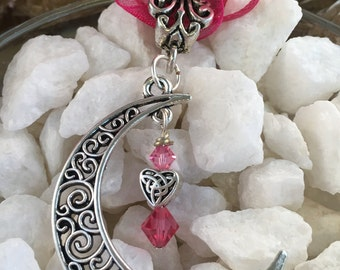Celtic Knot Heart Under Crescent Moon (2 Color Variations)