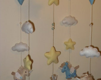 Mobile for baby crib with unicorns