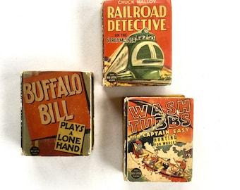 Big Little Books Buffalo Bill, Wash Tubbs, Railroad Detective 1930's Lot of 3