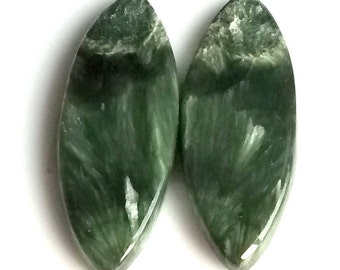 Seraphinite Marquise Smooth Cabochon, Natural Seraphinite Designer Cabochon Pair, 34x12 MM, 24 Cts, Loose Gemstone Pair.