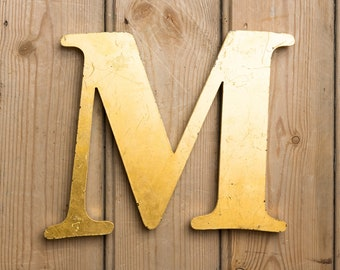 Vintage Letter M, Italic Gold Letter M, Wall Art, Home Decor, Collectable, Shop Letter, Name, Names, capital M, initial M, signage