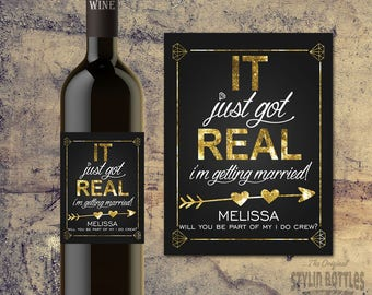 Will You Be Part of my I DO CREW Wine Bottle Label- Bridal Party Proposal- Bridesmaid- Maid of Honor- Matron of Honor- Personal Attendant
