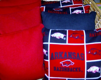 8 Pc Set Of Corn Hole Game Bags 4 Arkansas Razorbacks with Red Duck Cloth Canvas Bags