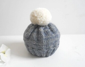 3-6 Mos. Knit Baby Hat/Infant Hat/Knit Baby Hat/Blue Baby Hat/Hand Knit Beanie/Hand Knit Baby Hat/Pom Pom Baby Hat