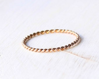 Solid 14k twisted rose gold ring, solid rose gold ring, stackable rope rose gold ring, thin 14k pink gold ring, stacking gold ring handmade