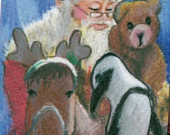 original art drawing color pencil aceo santa reindeer horse teddy bear and penguin Christmas gathering