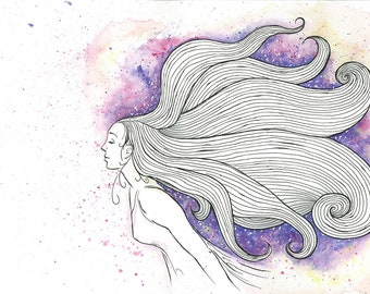 Watercolour and ink art print, female portrait, wall art, poster