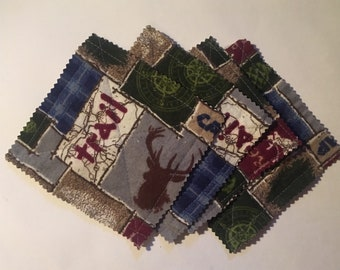 Mountain flannel coasters, set of 4