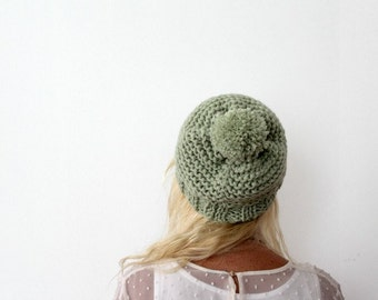 pom pom beanie pompom hat knit beanie pom pom skull cap mint green beanie plain winter hat winter hats plain beanie hats knitted winter hats