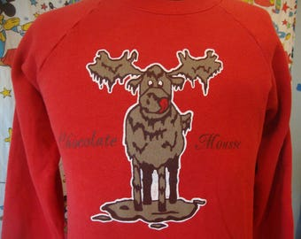 Vintage 90's Chocolate Mousse Funny Moose Parody Red punk rock grunge Sweatshirt Sz L