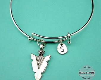 Arrowhead Bangle, Arrowhead Bracelet, Arrowhead Charm, Charm Bracelet, Bracelet, Bangle, Personalized, Silver Plated Bangle, Initial Charm