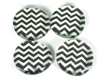 Funky Refrigerator Magnets Glass Marble Magnets in  Black Chevron  (M124)