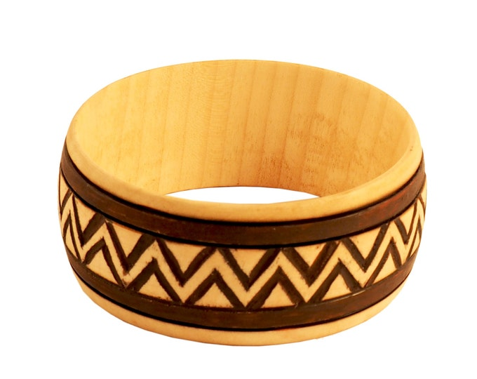 Wooden Jewelry Hand Carved Bracelet No 5
