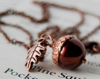 Chocolate and Copper Acorn Necklace | Brown Pearl Acorn Charm Necklace | Nature Jewelry | Woodland Acorn Pendant