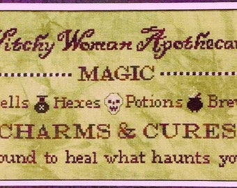 Witchy Woman Apothecary by Foxwood Crossings Counted Cross Stitch Pattern/Chart
