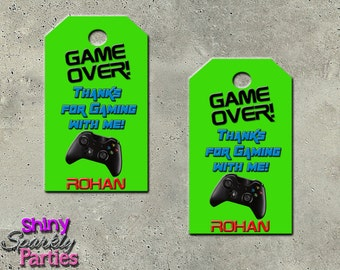 "Printable ""GAMING FAVOR TAGS"" - Video Game Party Favor Tags - Game Favor Tags - Video Game Birthday Party Favor Tags - Teen Birthday"