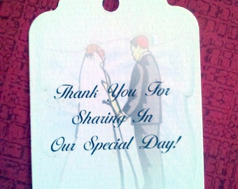 Wedding Thank You Tags, Set of 50, Personalized Tags, wedding favor, thank you tag