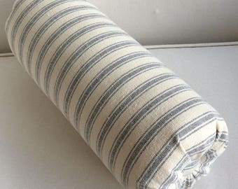 BOLSTER PILLOW Grain Sack blue color Stripes lumbar accent throw 6x14 6x16 6x18 6x20 6x22