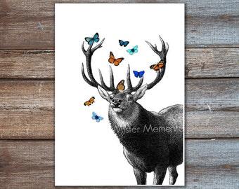 Deer Art Print, Deer with Butterflies Illustration, Art Print and Art Poster