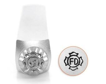Fire Dept Patch Metal Design Stamp ImpressArt- 6mm Design Stamp-Steel Stamps-Metal Supply Chick-New-sc1525m6m