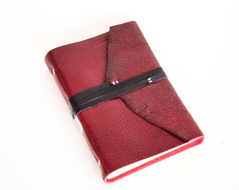 Leather Journal - Red dragon skin - Leather Wrap - Handbound Blank Book - A6 - 6 x 4 - Italian Ivory Paper