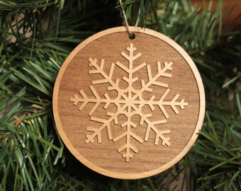 Snowflake Ornaments. Xmas Ornaments. Wood Christmas Ornament.