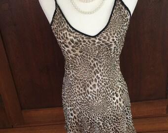 M / 100% SILK / Leopard Print Chemise / Slip Dress / Medium