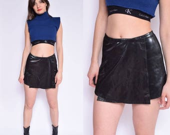Vintage 90's Glossy Black Wrap Up Skirt / Shiny Black Mini Skirt - Size Extra Small