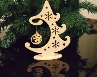 Christmas tree with a bauble, Plywood, Tree, Christmas gift, Bauble, Christmas Decoration