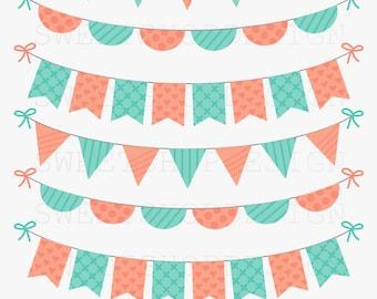 Baby Shower Clip Art, Birthday Clip Art, Bunting Clip Art, Royalty Free Clip Art, N02B, Instant Download
